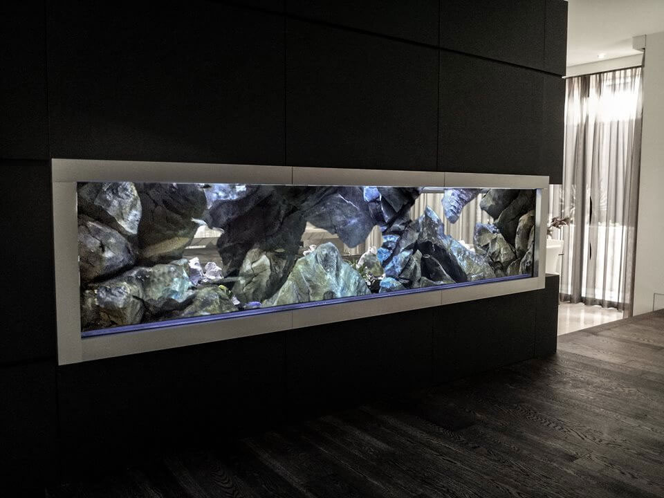 3D aquarium background, aquadecor model F in a fish tank