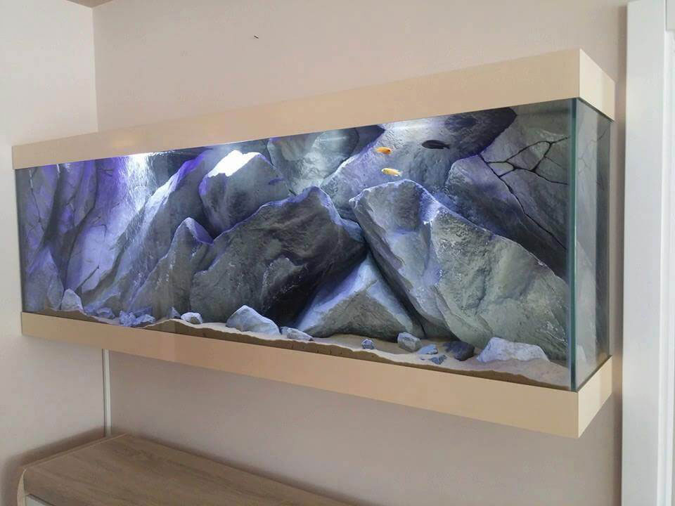 aquarium background (model massive rocks) in a fish tank