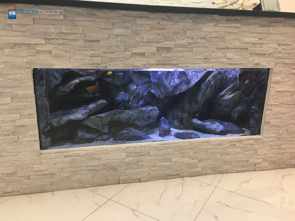 rock aquarium background in wall fish tank